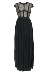 Black Sheer Lace Chiffon Evening Dress