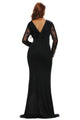 Black Sheer Lace Long Sleeve Front Slit Long Prom Dress