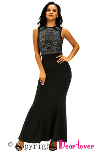 Black Shimmering Rhinestone Embellished Maxi Mermaid Dress