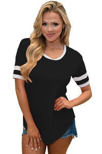 Black Short Sleeve Top with White Stripe