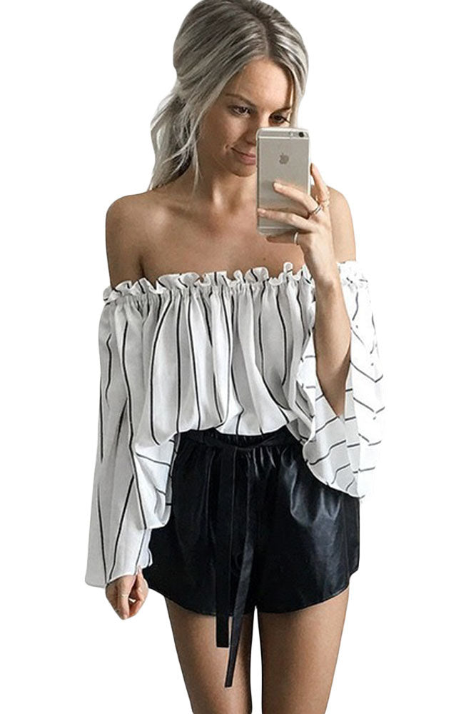 d00c7420b9ed3 Sexy Black Stripes Print Ruffled Off Shoulder Bell Sleeve Top – SEXY ...