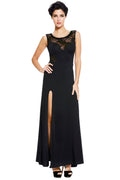 Black Sweetheart Lace Splice Party Maxi Evening Dress