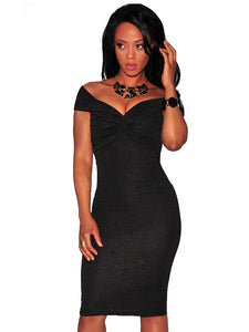 Black Textured Knotted Off The Shoulder Padded Dress