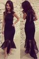 Black Tulle Fishtail Sleeveless Long Party Dress