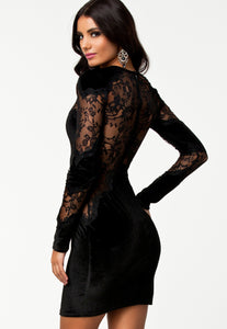 Black Velvet Lace Long Sleeves Vintage Dress