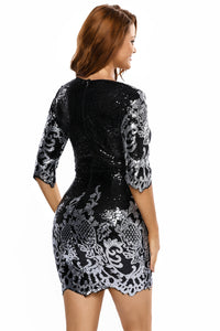 Black Victorian Silver Sequins 3/4 Sleeves Bodycon Dress