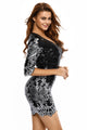 Sexy Black Victorian Silver Sequins 3/4 Sleeves Bodycon Dress