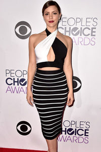 Black White Celebrity Bandage Skirt Set
