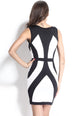 Black White Curvy Lines Thick Straps Bodycon Dress