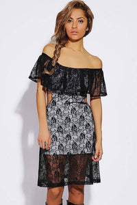 Black White Lace Ruffled off Shoulder Cut out Vintage Dress