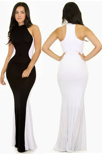 Black White Swerve Halter Maxi Evening Dress