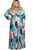Blue Coral Leafy Print Sash Tie Plus Size Maxi Dress