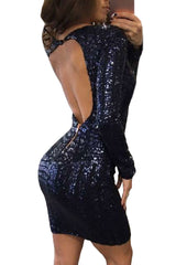 Blue Long Sleeves Cut out Bare Back Sequin Dress