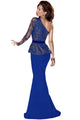 Blue One Shoulder Gold Floral Lace Peplum Top Long Skirt Formal Dress