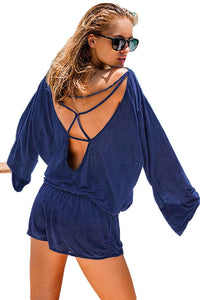 Blue Oversize Bodice Long Sleeve Hollow-out Back Romper