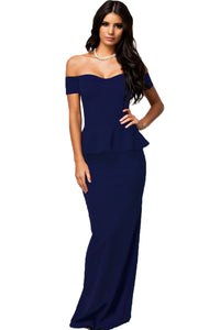Blue Peplum Maxi Dress With Drop Shoulder