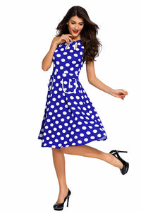 Blue Polka Dot Bohemain Print Dress with Keyholes