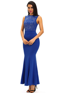 Blue Shimmering Rhinestone Embellished Maxi Mermaid Dress