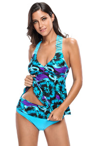 Bluish Floral Print Macrame Tankini and Short Swimsuit