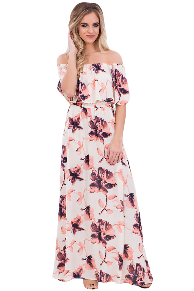 a2a409f70b5 Sexy Boho Vibe Floral Print Off Shoulder Maxi Dress – SEXY ...