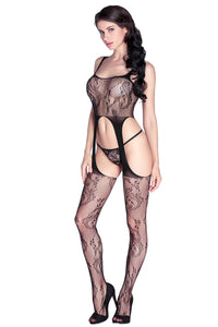 Bold Cutout Black Sheer Body Stockings