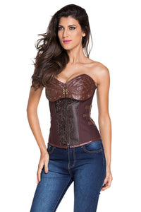 Brown 12 Steel Bones Steampunk Corset with Thong