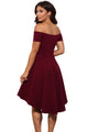 Burgundy All The Rage Skater Dress