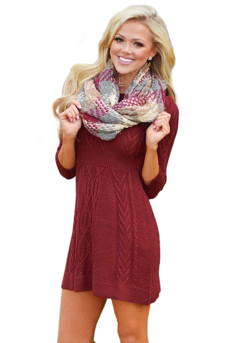 3fc80786add9 Sexy Burgundy Cable Knit Fitted 3 4 Sleeve Sweater Dress – SEXY ...