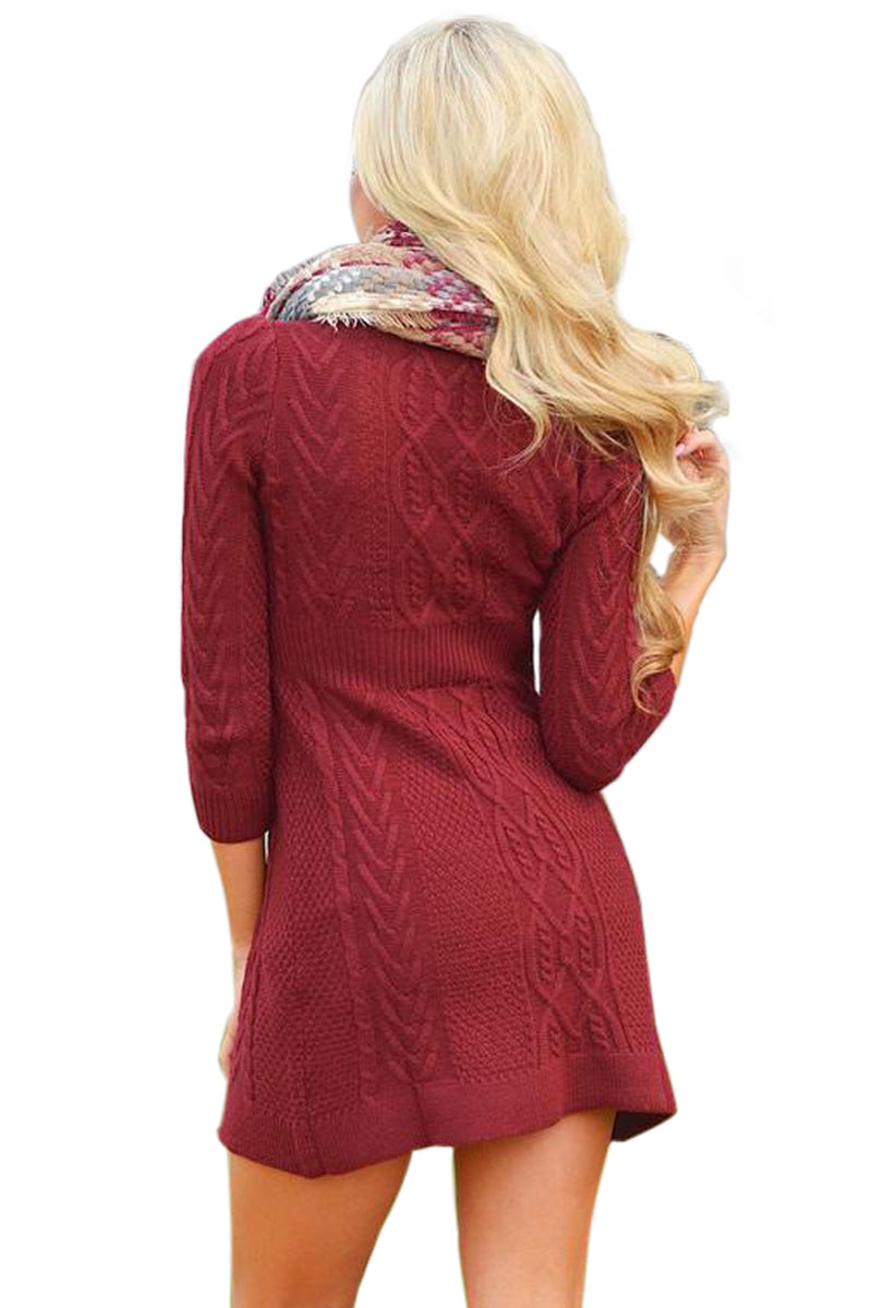 3b05d501270 Sexy Burgundy Cable Knit Fitted 3 4 Sleeve Sweater Dress – SEXY ...