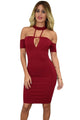 Burgundy Drop Shoulder Choker Nightclub Dress