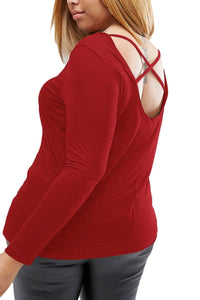 Burgundy Plus-Size Crisscross Back Long-Sleeve Top