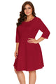 Burgundy Scalloped Neckline 3/4 Sleeve Skater Dress