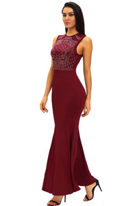 Burgundy Shimmering Rhinestone Embellished Maxi Mermaid Dress