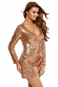 Champagne Ruched Sequin Long Sleeve Nightclub Dress