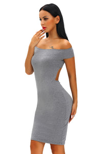 Charcoal Crisscross Off Shoulder Bodycon Dress