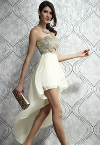 Charming Boulevard Sequined Long Dress Beige
