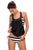 Chic Cut Out Black White Stripe Tankini Swimsuit