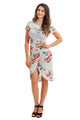 Chic Knot Side Wrapped White Floral Dress