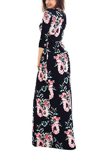 Sexy Classic Floral Print Black 3/4 Sleeve Maxi Dress