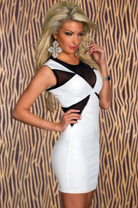 Classic White Geometrical Bodycon Dress