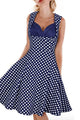 Contrast Bra Insert Retro Polka Dot Navy Skater Dress