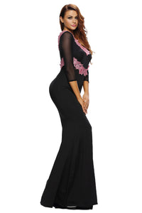 Contrast Floral Applique Black Long Sleeve Party Dress