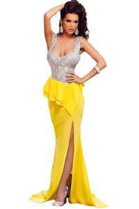 Costly Silver Bust Yellow Skirt Frill Party Prom Evening Dress