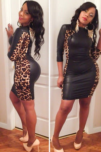 Crisp Leopard Accents Vinyl Bodycon Dress