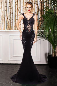 Deluxe Lace Applique Black Mermaid Party Dress