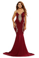 Deluxe Lace Applique Burgundy Mermaid Party Dress
