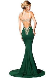 Deluxe Lace Applique Green Mermaid Party Dress
