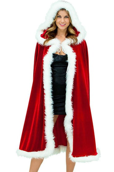 Deluxe Red Velvet Christmas Hooded Cape Cloak Costume
