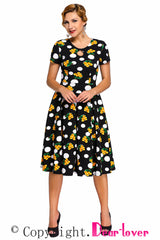 Dot Floral Print Keyhole Vintage Swing Dress