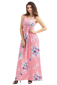 Dusty Pink Floral Print Sleeveless Long Boho Dress